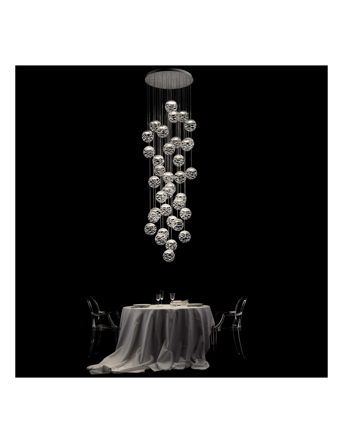 suspension multiple kelly cluster 36 spheres so5. Black Bedroom Furniture Sets. Home Design Ideas