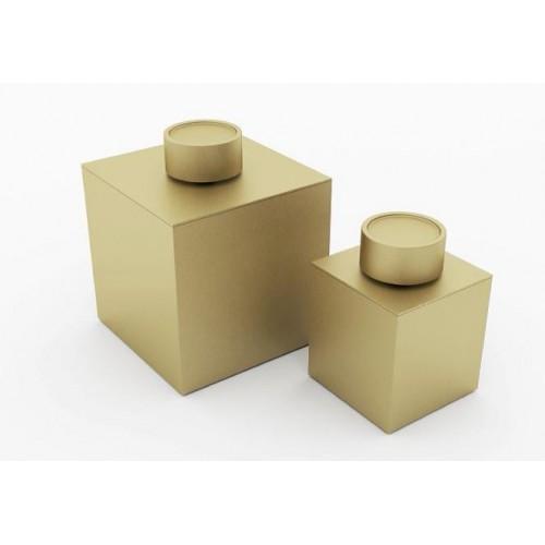 Boîte de rangement avec couvercle grand modèle finition or mat