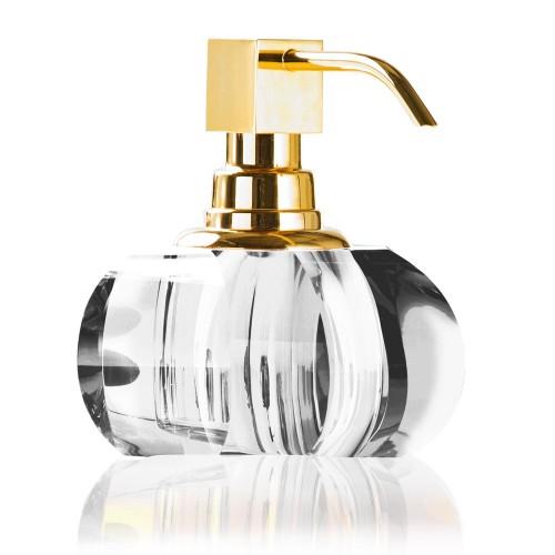 Distributeur de savon liquide Kristall finition dorée