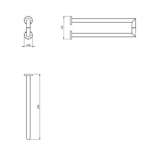 Porte serviette latéral double Kubic Dual