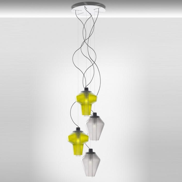 Elegant Suspension Metal Glass 2 4 Lampes En Bouquet