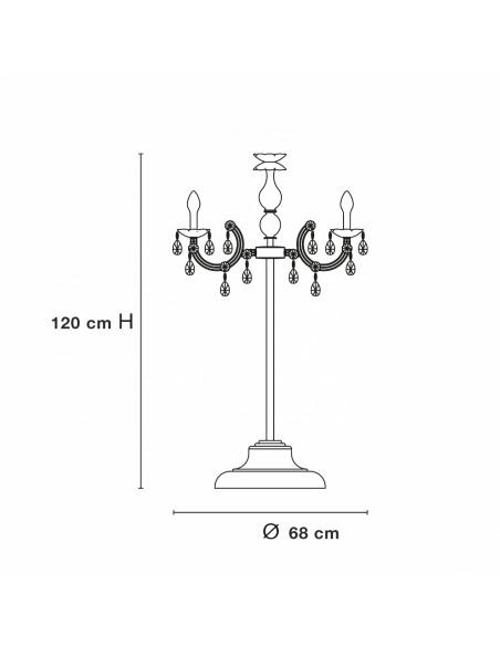 dimensions Lampe à Poser à pampilles Drylight TL6