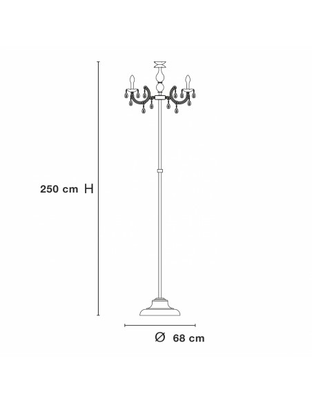dimensions Lampadaire à pampilles Drylight STL6