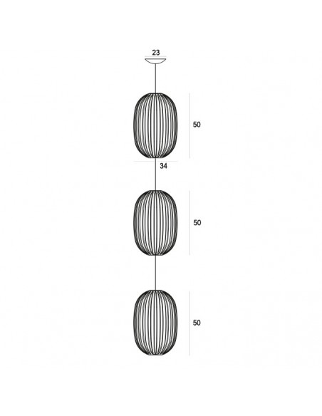 Triple Suspension Plass Media foscarini grise