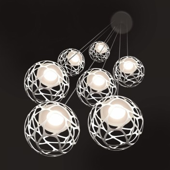 Suspension multiple kelly cluster 7 spheres en bouquet