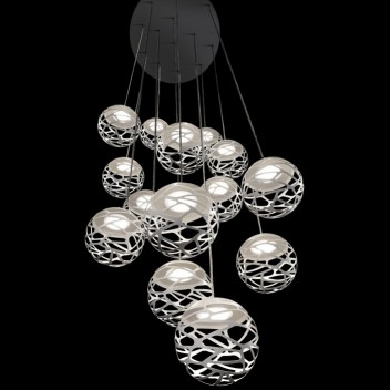 Suspension multiple kelly cluster 14 spheres en bouquet
