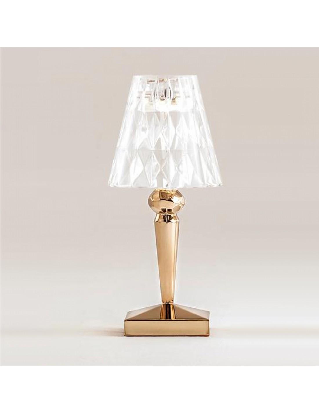 lampe de table battery kartell m tallis e or. Black Bedroom Furniture Sets. Home Design Ideas