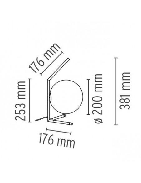 Dimensions lampe à poser IC T1 LOW de flos Valente Design Michael Anastassiades