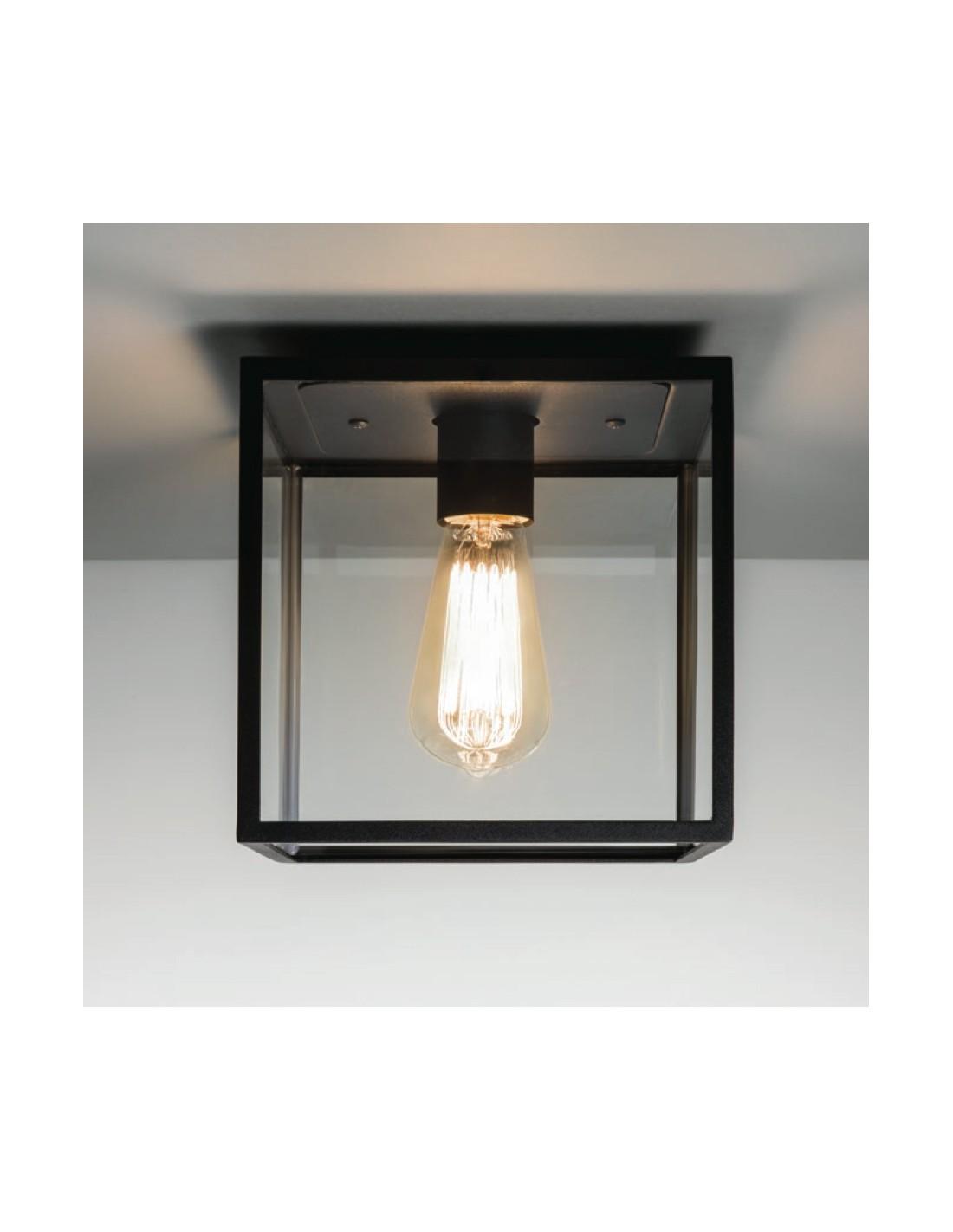 Plafonnier extérieur Box noir vue de  face astro lighting