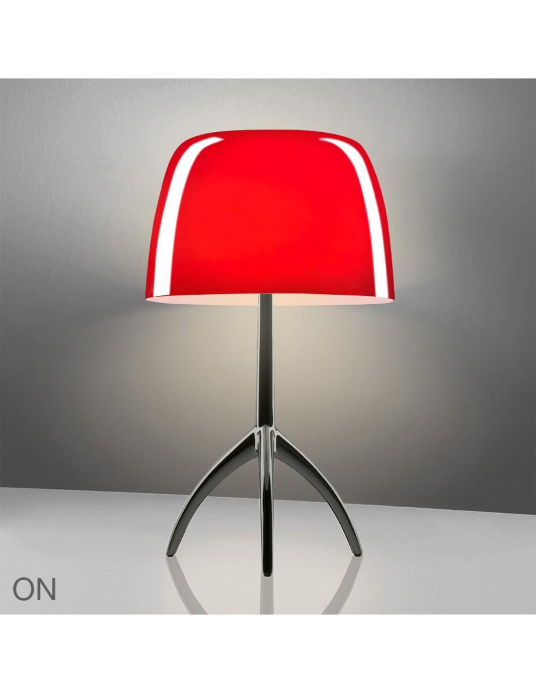 lampe de table lumi re 05 grande chrome rouge. Black Bedroom Furniture Sets. Home Design Ideas