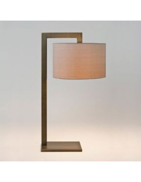 Vue de profil lampe de table ravello blanc bronze et abat-jour huître astro lighting Valente Design