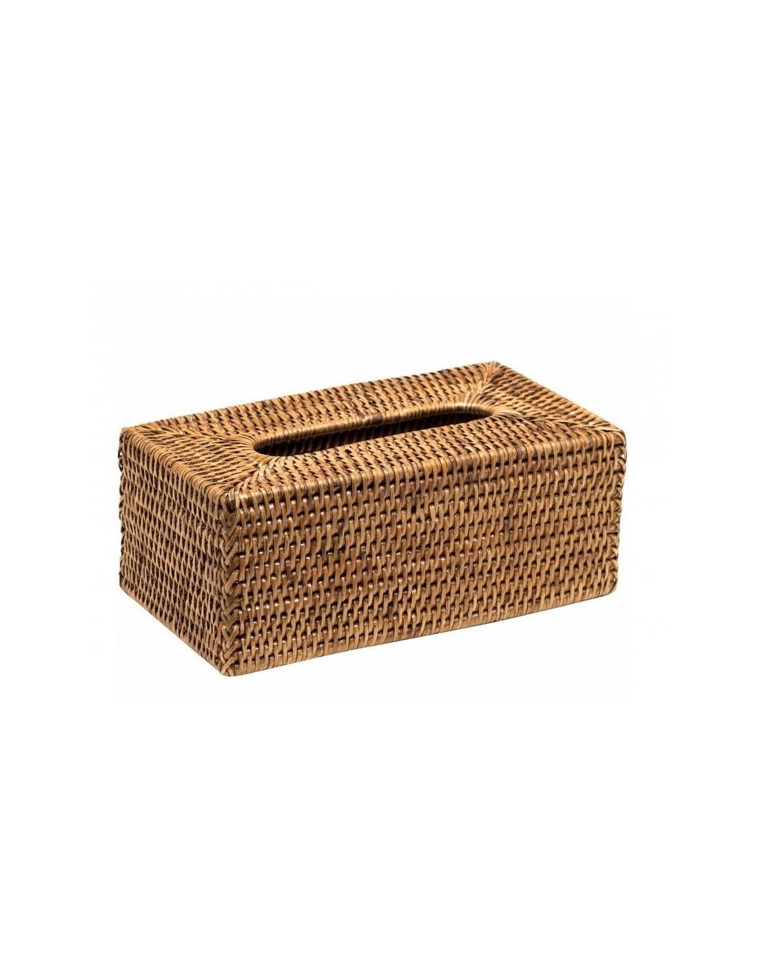 Boîte à mouchoirs Basket en rotin foncé