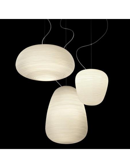 Suspension Rituals  détails Lampes foscarini verre blanc opalin