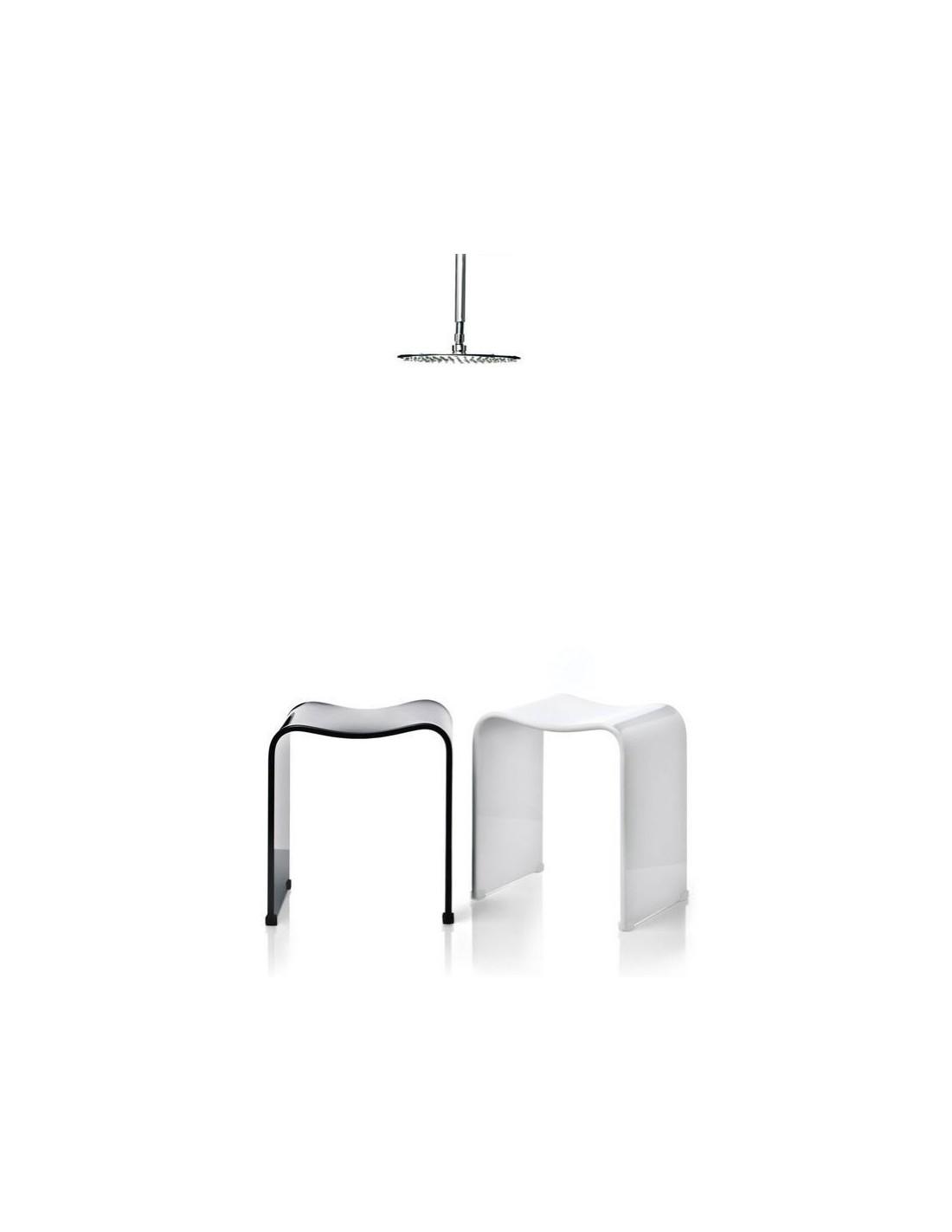 tabouret de douche noir brillant et blanc brillant decor. Black Bedroom Furniture Sets. Home Design Ideas