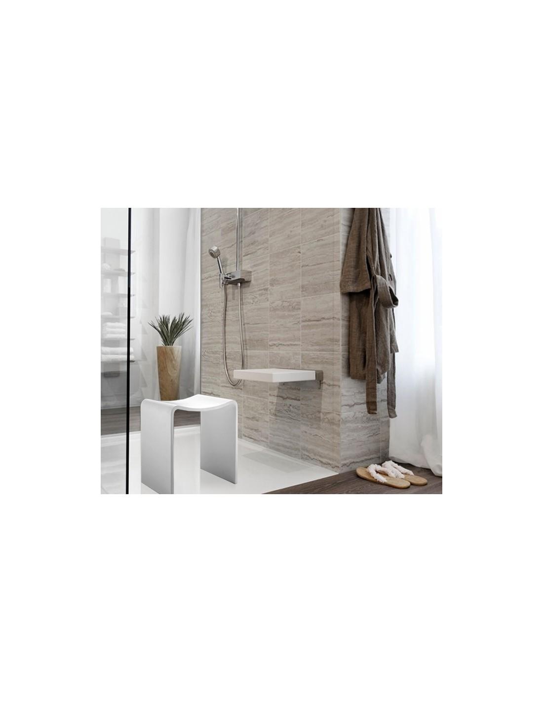tabouret de douche blanc brillant decor walther. Black Bedroom Furniture Sets. Home Design Ideas