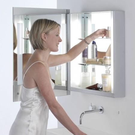 Détails armoire lumineuse Livorno ouverte miroir astro lighting Valente Design