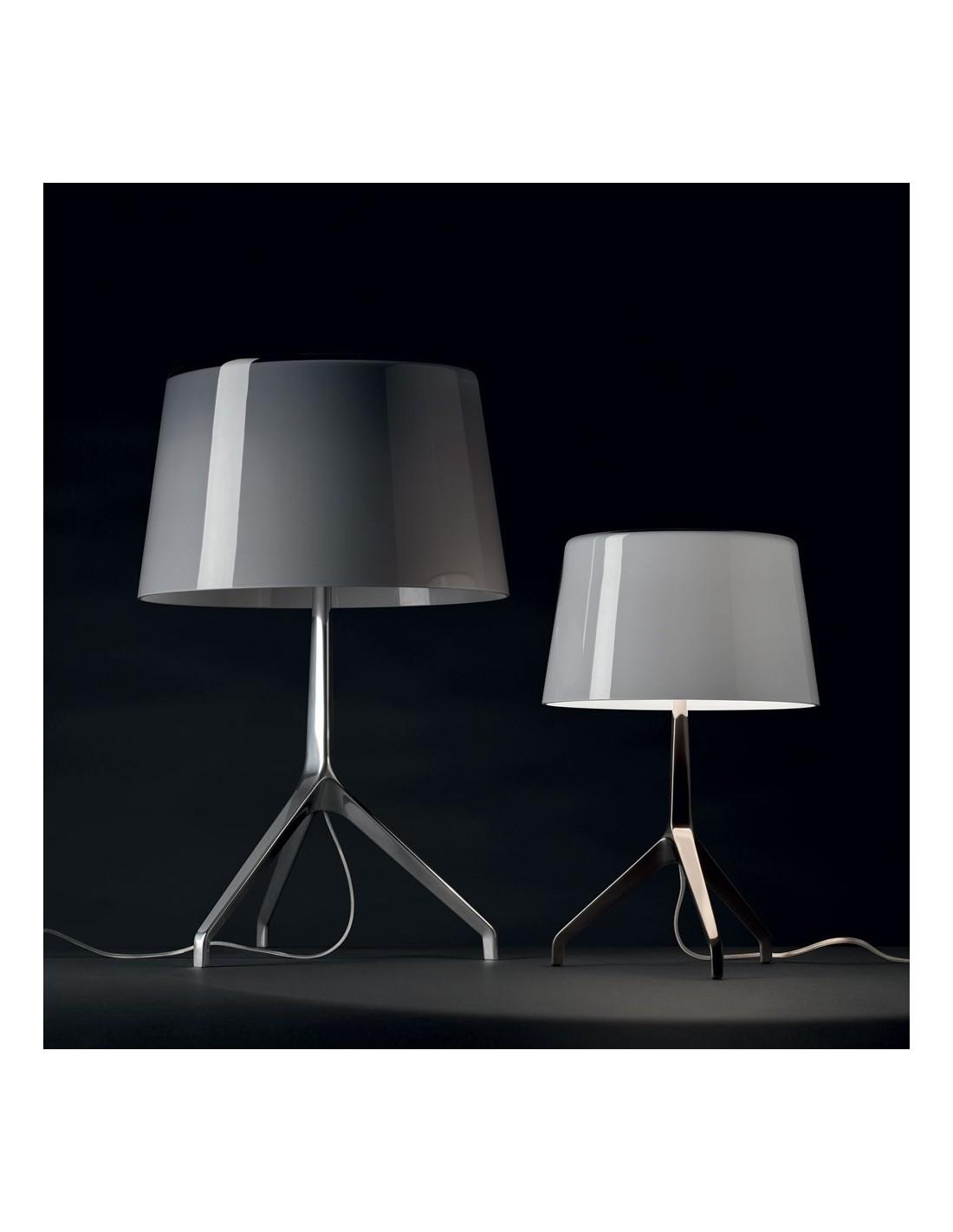 lampe de table lumi re xxs chrome noir et gris. Black Bedroom Furniture Sets. Home Design Ideas
