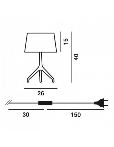 Lampe de table Lumière XXS Aluminium poli plan dimensions