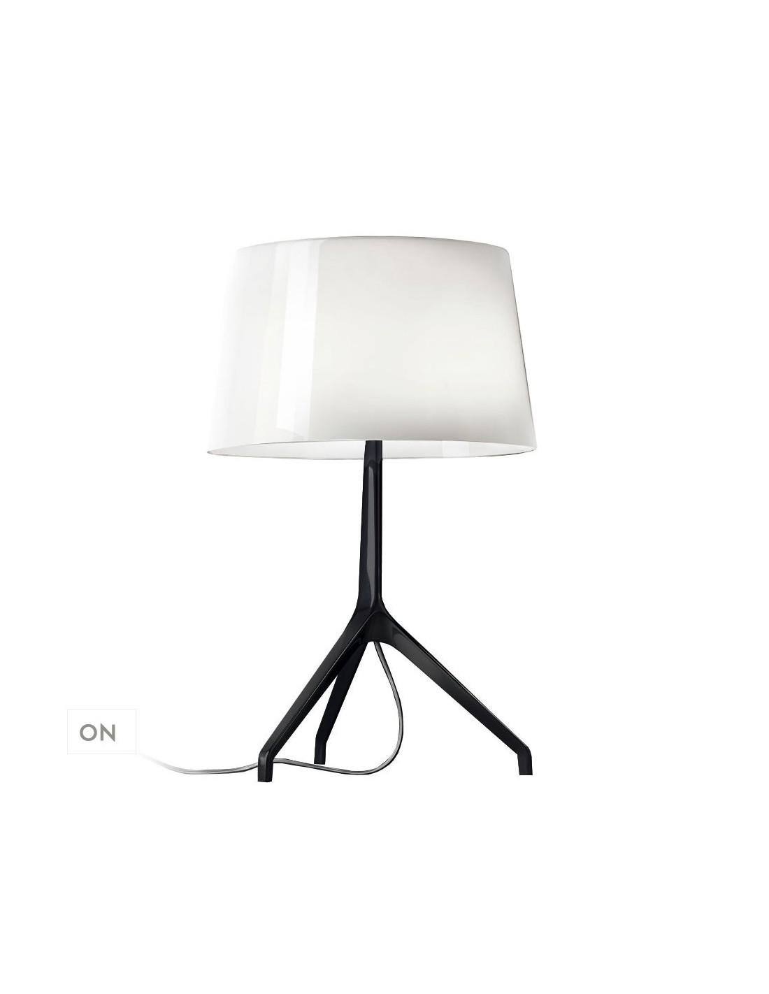 lampe de table lumi re xxl blanche et chrom noir. Black Bedroom Furniture Sets. Home Design Ideas