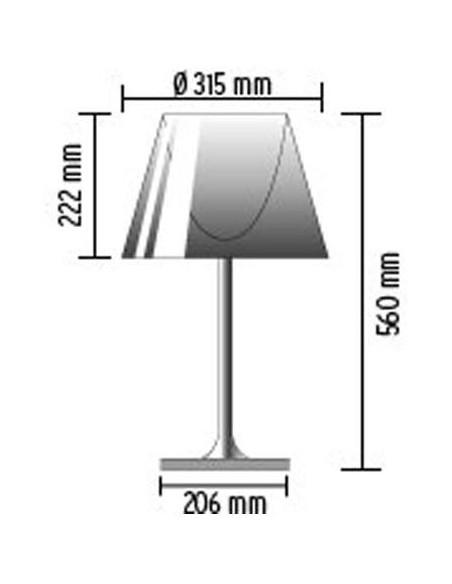 Schéma de la lampe de table Ktribe T1 Glass - designer Philippe Starck - marque FLOS - revendeur Valente Design