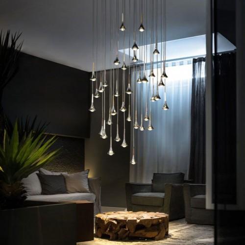 suspension rain 36 lampes en bouquet - Suspension Design Led