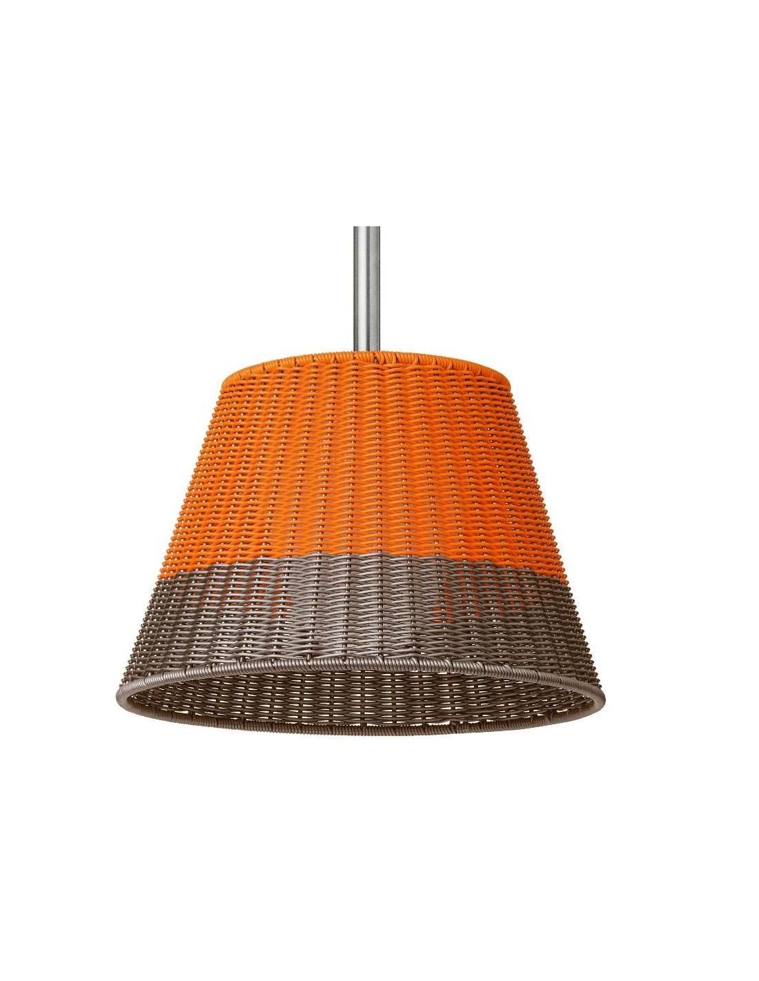 Zoom Suspension Romeo C1 Outdoor H80cm avec abat-jour tressé orange/gris de Philippe Starck pour flos chez Valente Design