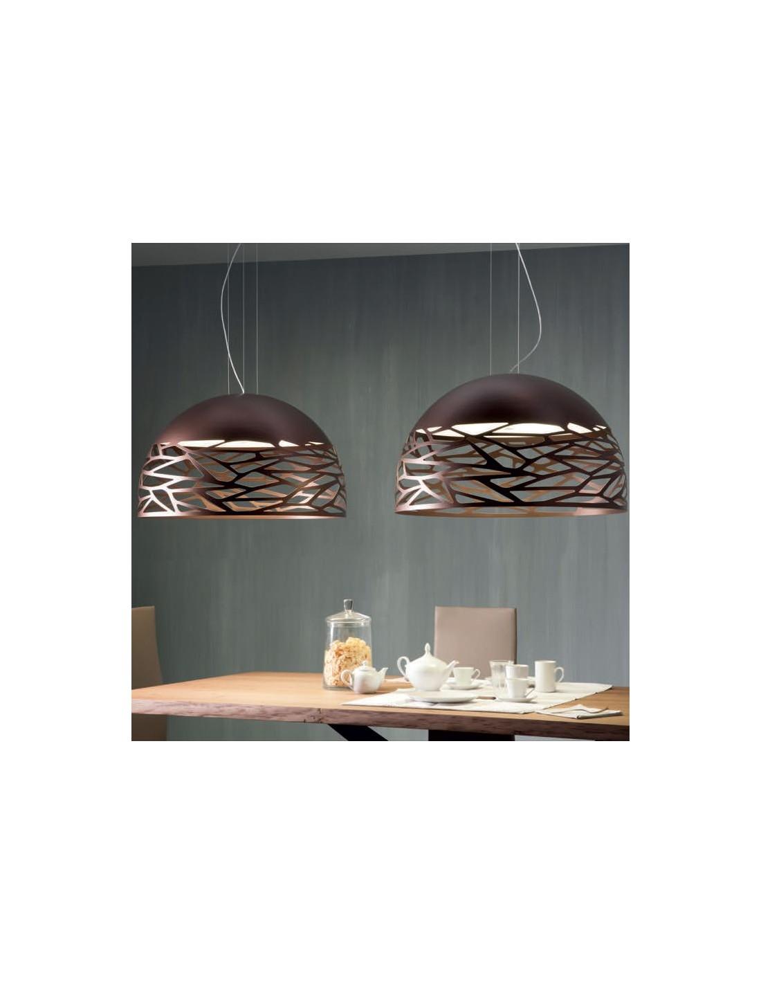 Suspension Kelly Large Dome 80 bronze de Studio Italia Design Valente Design Andrea Tosetto table cuisine