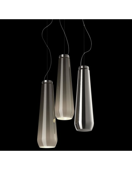 Suspension Glass Drop chrome Diesel Living Lodes Studio Italia Design Valente Design composition en bouquet