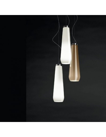 Suspension Glass Drop blanc et chromé allumée Diesel Living Lodes Studio Italia Design Valente Design