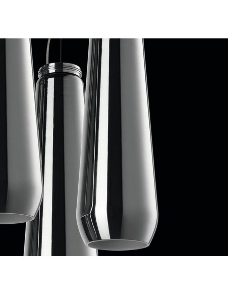 Suspension Glass Drop chrome Diesel Living Lodes Studio Italia Design Valente Design détail