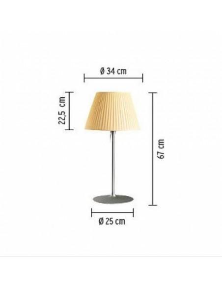 Lampe de table Roméo Soft T1  tissu plissé beige plan de flos