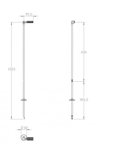 Dimensions du lampadaire extérieur Spiky sur piquet 100 cm schéma et plan de la marque Royal Botania  - Valente Design