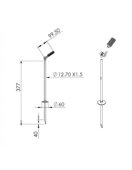 Schéma du spot Spiky sur piquet 40 cm de la marque Royal Botania - Valente Design