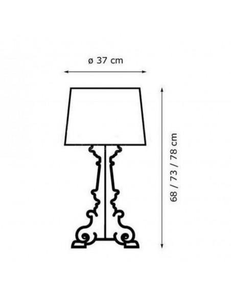 Lampe de table Bourgie Cristal plan dimensions pour la marque Kartell