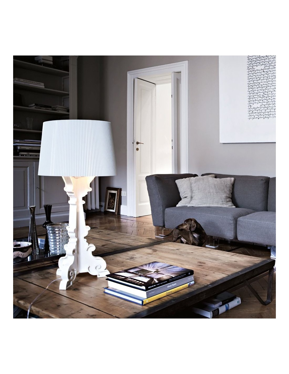 lampe de table bourgie cristal blanc mise en sc ne pour la marque kartell. Black Bedroom Furniture Sets. Home Design Ideas