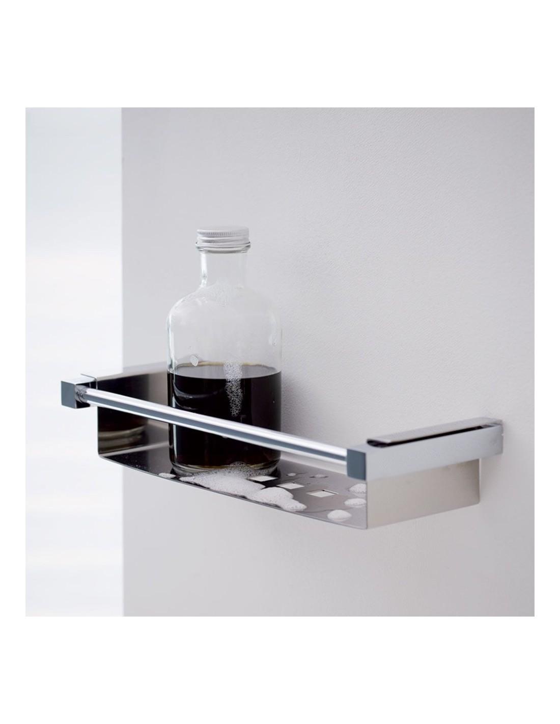 Porte savon de douche grand modèle Metric en finition chromé brillant et inox mat de la marque Pomd'or