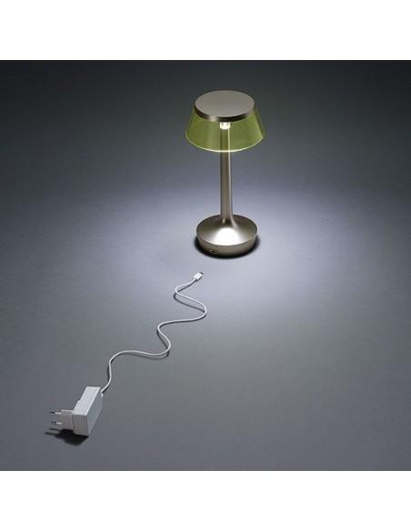 lampe sans fil bon jour chrome jaune éclairée  de flos - Philippe Starck - Valente Design