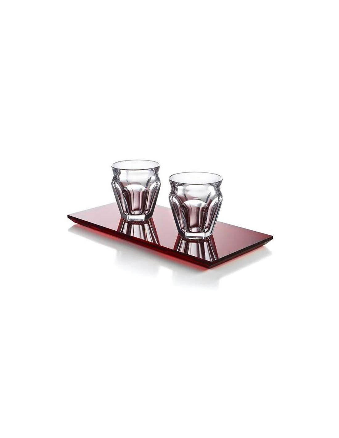 harcourt café Baccarat duo de tasses en cristal et plateau.