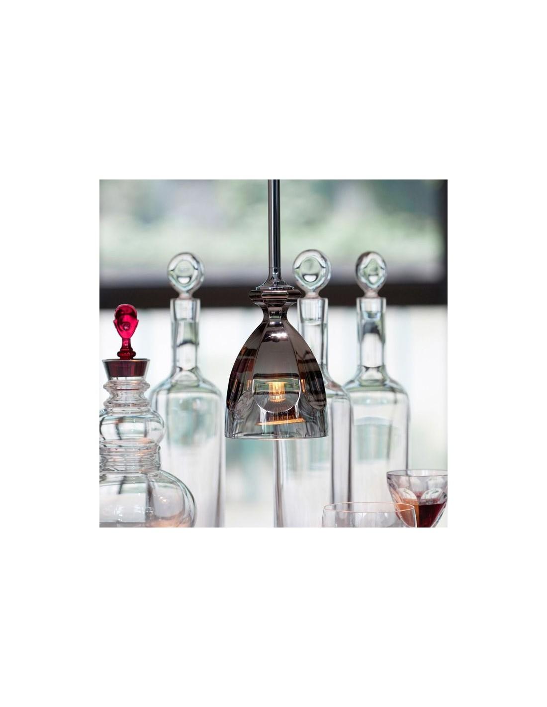 Suspension Hic en cristal clair métallisé argent en dégradé par Philippe Starck pour la marque Baccarat - Valente Design