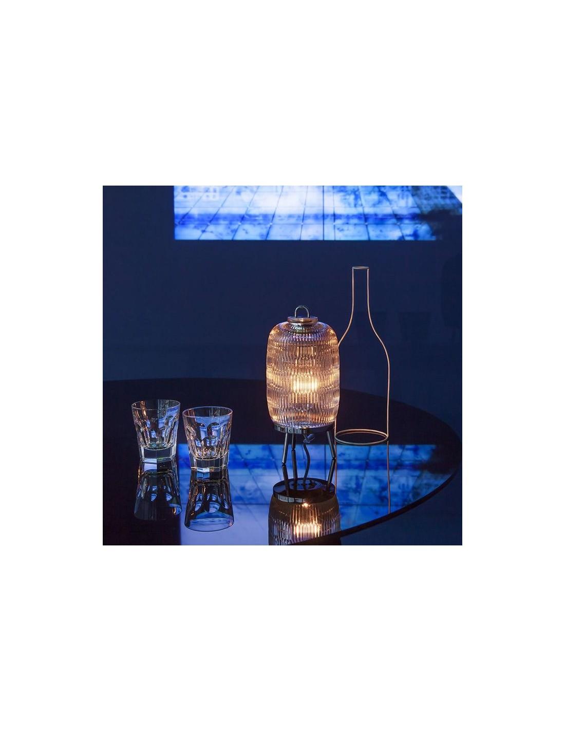 Lampe de table Celeste Baccarat en métal finition poli miroir - Valente Design