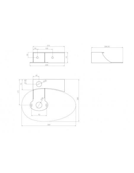 Schéma console avec trou pour lave mains First pour la marque Clou