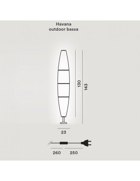 Lampadaire Havana Outdoor Terra Bassa Base dimensions plan