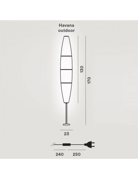Lampadaire Havana Outdoor Terra Base dimensions plan