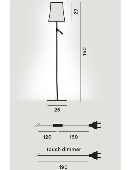 Lampadaire Birdie lettura plan dimensions