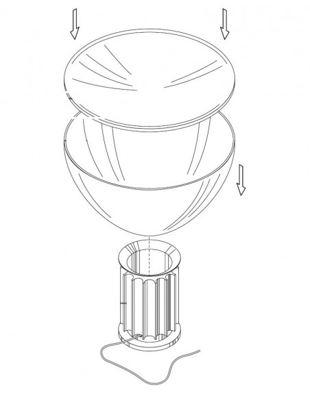 remplacement diffuseur Taccia schéma exeplicatif Flos