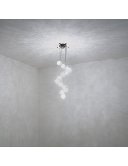 Suspension Sweet Light en finition aluminium naturel Catellani & Smith