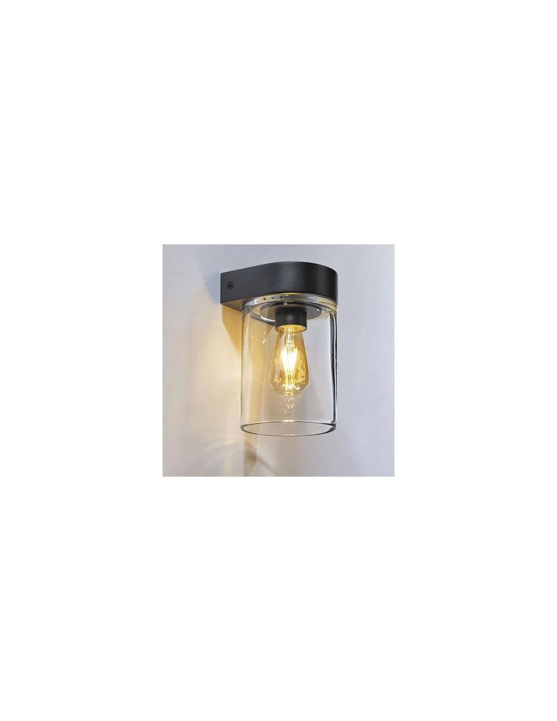 applique tesla support en aluminium noir et d 39 une cloche de verre transparent luminaire royal. Black Bedroom Furniture Sets. Home Design Ideas