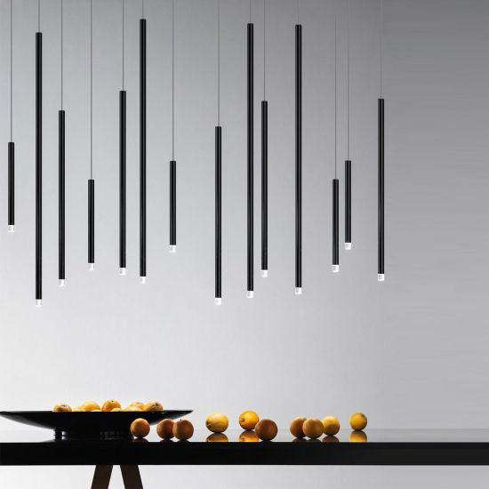 Suspension A-Tube Nano medium noir de Studio Italia Design Valente Design composition en linéaire