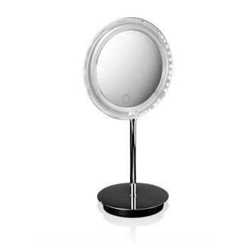 Miroir rond éclairant sur pied à pile