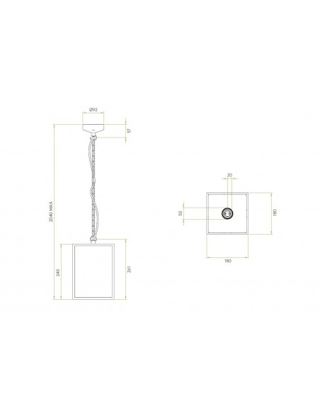 Suspension Homefield pendant 240 Inox plan Astro Lighting